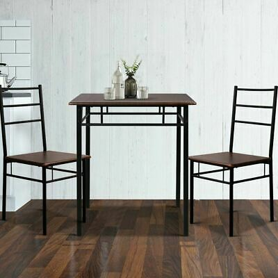 AU102.94 • Buy Walnut & Black 3 Piece Dining Table And Chairs Set Metal Frame Industrial Design
