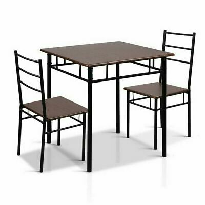 AU112.26 • Buy Walnut & Black 3 Piece Dining Table And Chairs Set Metal Frame Industrial Design