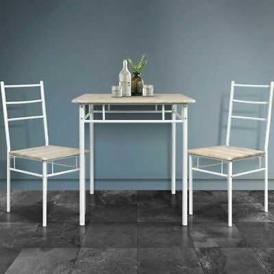 AU101.83 • Buy Natural Machal 3 Piece Dining Table And Chairs Set Metal Frame Industrial Design