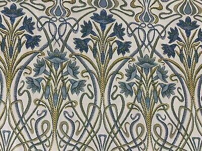 Tiffany. Prussian Blue Deco Jacquard  140cm Wide  Curtain/Upholstery Fabric  • 2.50£