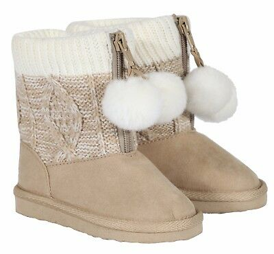 Baby Girl Knit Winter Warm Boots Booties Infant Toddler Newborn Snow  • 6.95£