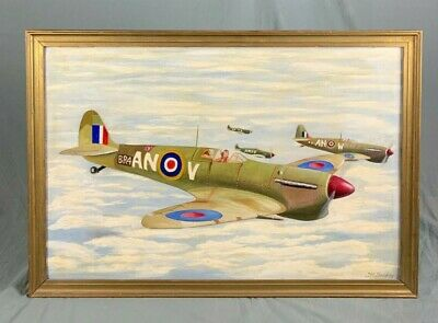 £245 • Buy WWII Interest Oil Painting A Squadron Of Spitfires Signed