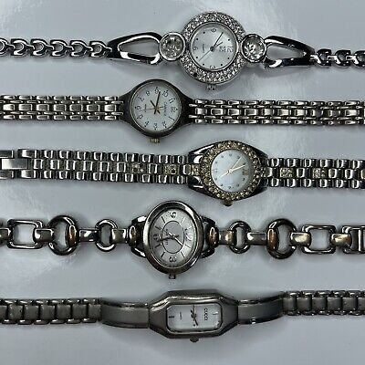 E Lot GG Nine West Carriage R9 NY&Co Silver Vtg Retro Stainless Watch Untested • 3.34£