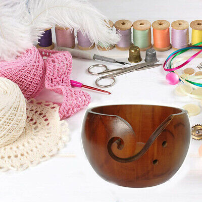 Wooden Yarn Bowl 6 X3  Holder Knitting Crochet Winder Threads Holder • 15.84£