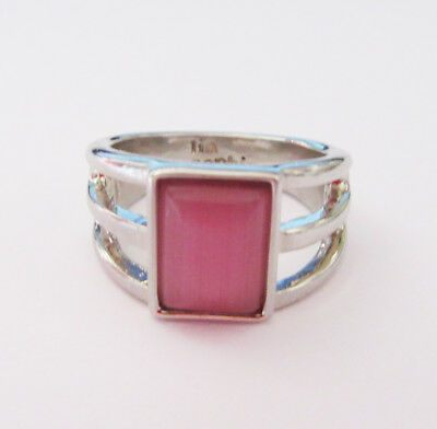 $ CDN0.13 • Buy M49 Lia Sophia Ring Silver Tone With Rectangle Pink Stone Size 7