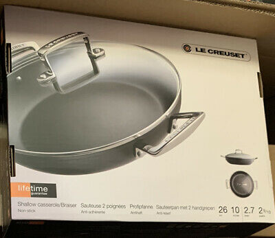 Le Creuset Toughened Non-Stick Shallow Casserole With Glass Lid 26cm ( New) • 160.92£