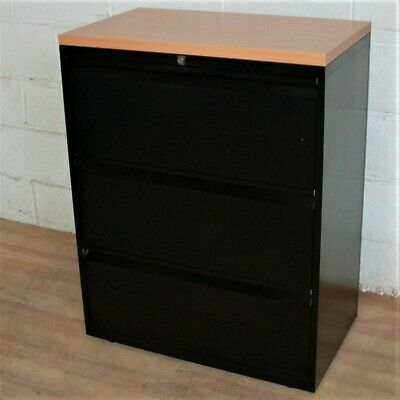 BISLEY Lateral 3dwr Filing Cabinet Cupboard Unit Black Beech Storage Home Office • 159£