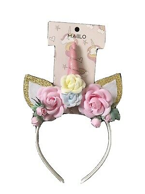 AU8.89 • Buy Girls Glitter Unicorn And Roses Headband