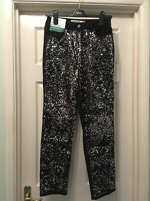 NEXT Ladies Black Sequin Jeans Size 10 Stretch, High Rise Ankle Straight NEW £40 • 6.99£