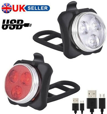 Bike Light Set, Super Bright USB RECHARGEABLE Bicycle Lights, Waterproof IPX4 • 6.39£