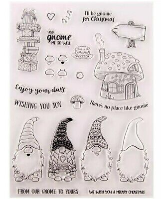 21 Gnomes Clear Stamps-christmas/xmas Sentiments-toadstool/greetings-gonk/gnome • 6.75£