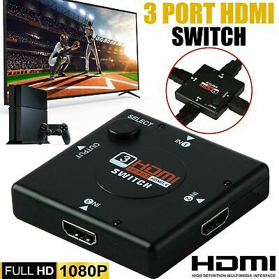 3 Way Port HDMI Switch Splitter Hub 1080p INPUT 1 OUTPUT For PS3 Xbox 360 Sky HD • 3.35£