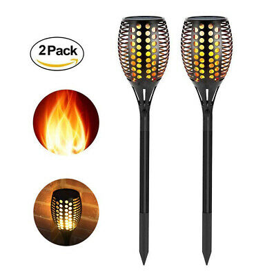 96 LEDs Solar Dancing Flame Effect Solar Power Garden Lights Flickering Torch • 15.99£