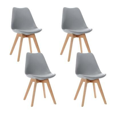 AU124.95 • Buy Artiss Set Of 4 Retro Dining DSW Chairs PU Leather Padded Kitchen Cafe Beech Woo