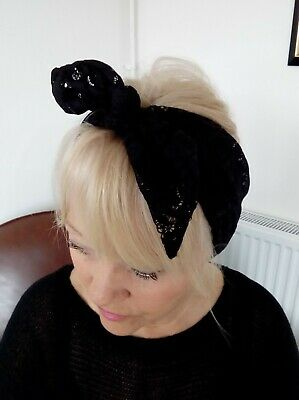 HEAD SCARF HAIR BAND Black Stretchy LACE SELF TIE BOW  NECK ROCKABILLY SWING  • 4.50£