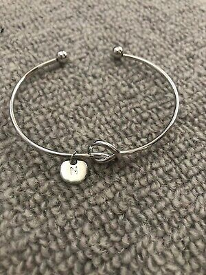 Silver Knot Bracelet Bangle With N Disc  • 0.99£