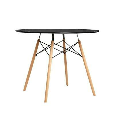 AU107.95 • Buy Artiss Dining Table 4 Seater Round Replica DSW Cafe Kitchen Timber Black 90cm
