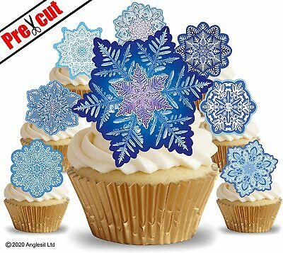 £3.79 • Buy Pre-cut Frozen Snowflakes Edible Wafer Paper Cup Cake Toppers Decorations