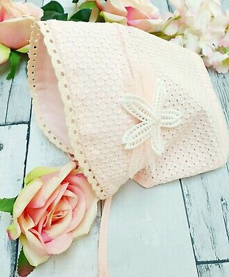 💖 0-3 Months Baby Girls Pretty Spanish Traditional Romany Pink Bonnet Hat 💖 • 4.19£