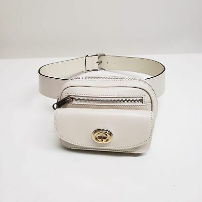 AU1029.66 • Buy Gucci GG Leather Belt Bag | White | NEW