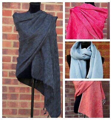 Yak Wool Scarf Shawl Travel Wrap Handmade Large Scarf Wool Scarf Wram And Light • 22.87£