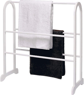Kondior White Towel Stand Free Standing Wooden Bathroom 5 Rails Rack Easy To Use • 31.99£