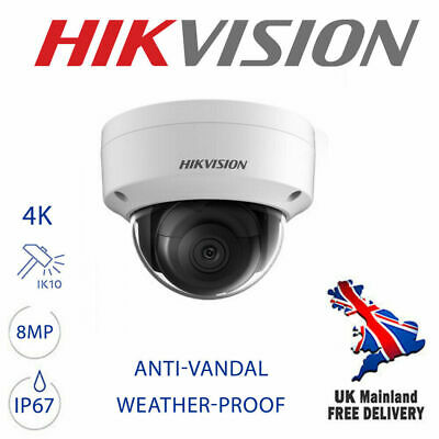 Hikvision Ds-2cd2183g0-i 8mp 4k Uhd Cctv Ip Poe Vandalproof Network Dome Camera • 154.63£