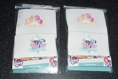 £3.99 • Buy 4 PACK OF GIRLS MY LITTLE PONY 100% COTTON WHITE VESTS AGES 2-3 Up To 5-6 YEARS