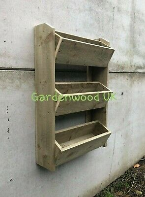Rustic Wooden Tiered Garden Herb Planter Wall Mounted Ladder Multi-Level Planter • 55£
