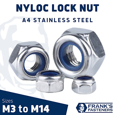 $7.47 • Buy Hexagon Nyloc Nut A4 Stainless Steel M3 M4 M5 M6 M8 M10 M12 M14 | DIN 985