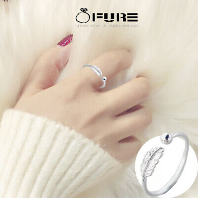 Pure 925 Sterling Silver Feather Ring Open Band Adjustable Jewelry Silver Women • 3.99£