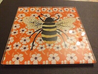 Set Of 4 Glass Coasters Insects- Bee, Butterfly Ladybird Dragonfly. Debenhams • 5£