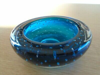 Vintage Murano Glass Controlled Bubble Bowl - Teal • 6.99£