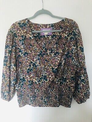 Anthropologie Large Pretty Peasant Top Blue Pink Floral • 4.50£