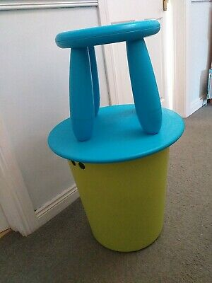 IKEA Childrens Storage Table And Stool. Green And Turquoise  • 10£