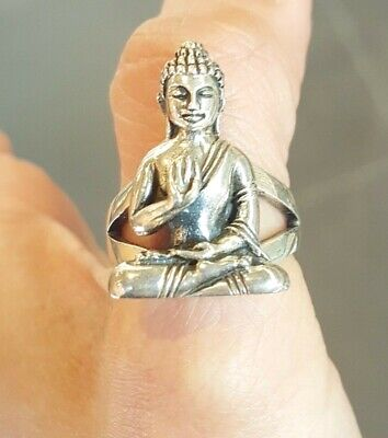 £45 • Buy Sterling Silver Buddha Ring, Statement Ring, Mens Gift