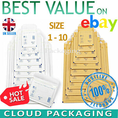 £2.90 • Buy Gold White Arofol Genuine Bubble Jiffy Padded Envelopes Mailers Bags All Sizes