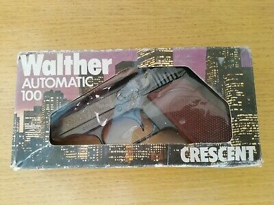 Crescent Toys Walther Automatic Die-cast 100 Shot Metal Toy Cap Gun Original Box • 29.99£