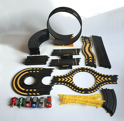 Micro Scalextric, 6 Cars, 4 Controllers, 34 Track Inc Loop, Branded Backpack • 11.50£