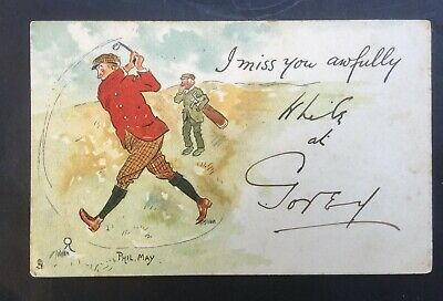 ORIGINAL PHIL MAY SIGNED TUCK GOLFING POSTCARD - I MISS YOU AWFULLY - No. 1008. • 1.99£