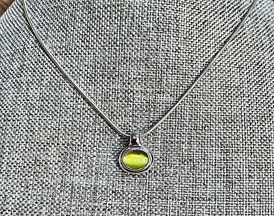 $ CDN1.29 • Buy Beautiful LIA SOPHIA Silver Tone Green Stone Pendant Necklace SIGNED 18  E02