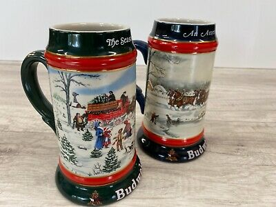 $ CDN59.60 • Buy Budweiser Seasons Collectors Series Holiday Beer Stein Mugs 1990 1991 Lot Of 2