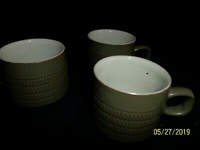 Denby Chevron Coffee Cups And Saucers X 3 • 6.50£