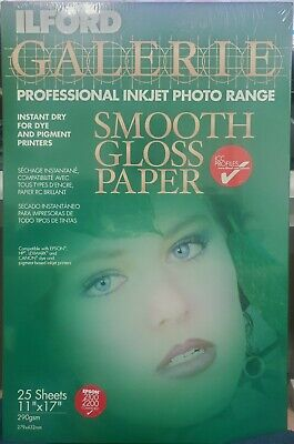 ILFORD Galerie Smooth Gloss Pro Inkjet Photo Paper 11 X17  25 Sheets 280 Gsm • 21.71£