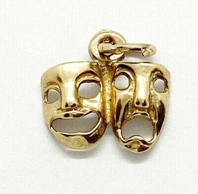 £59 • Buy 9ct 375 Vintage Comedy And Tragedy Mask Charm