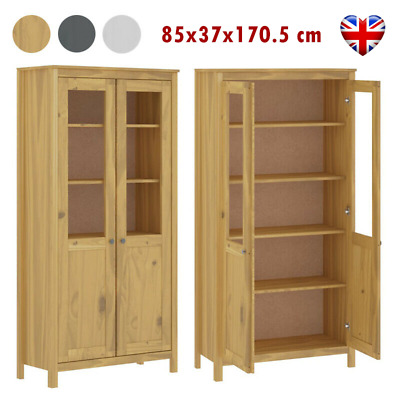 Highboard Hill Range Solid Pine Wood Bookcase With Glass Doors 5 Shelves Cabinet • 237.86£