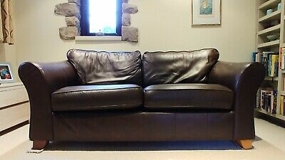 Marks And Spencer Brown Leather 3 Seater Sofa And Armchair • 250£