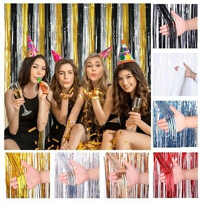 2.5M Foil Fringe Tinsel Shimmer Curtain Wedding Birthday Party Door DECORATIONS • 2.99£