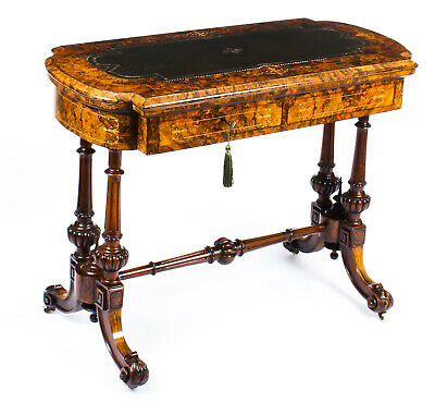Antique Burr Walnut & Marquetry Combination Writing & Card Table  19th C • 2,550£