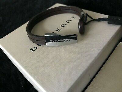 Burberry Leather Wrap Bracelet With Silver Branded Clasp • 35£